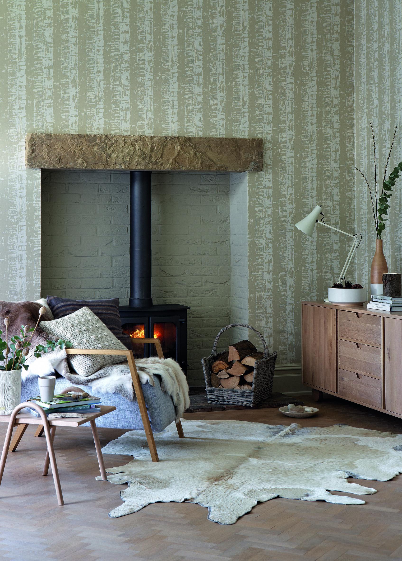 Behang Bark in de kleur Heath uit de collectie Retrospective Papers van LITTLE GREENE. www.littlegreene.nl | retro | muurdecoratie | wandbekleding | wallpaper | woonkamer | living | interieur | design | interior | wonen | home | styling