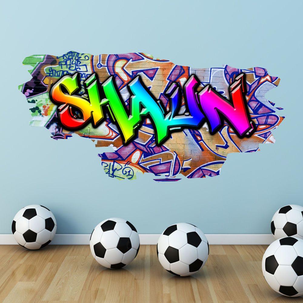 1 PERSONALISED GRAFFITI NAME STICKER WALL ART DECAL GIRLS BOYS BEDROOM transfer