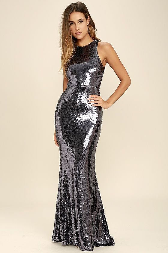 373ec95ce2c Your beauty will be known for miles around when you slip into the Notorious  Pewter Sequin Maxi Dress! Shiny silver sequins (with a purple hue) sparkle  atop ...