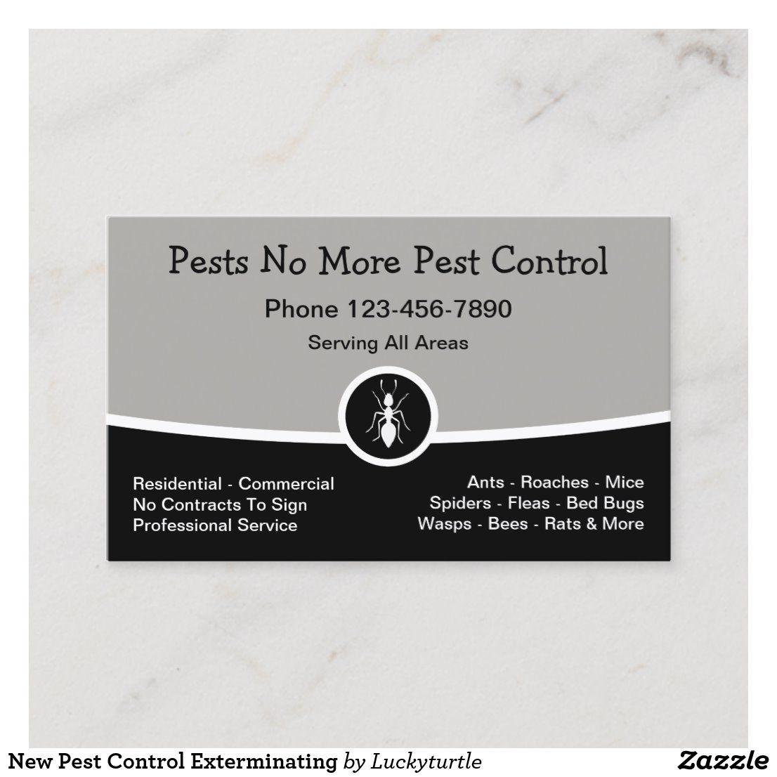 New Pest Control Exterminating Business Card Zazzle Com Pest Control Pests Cards