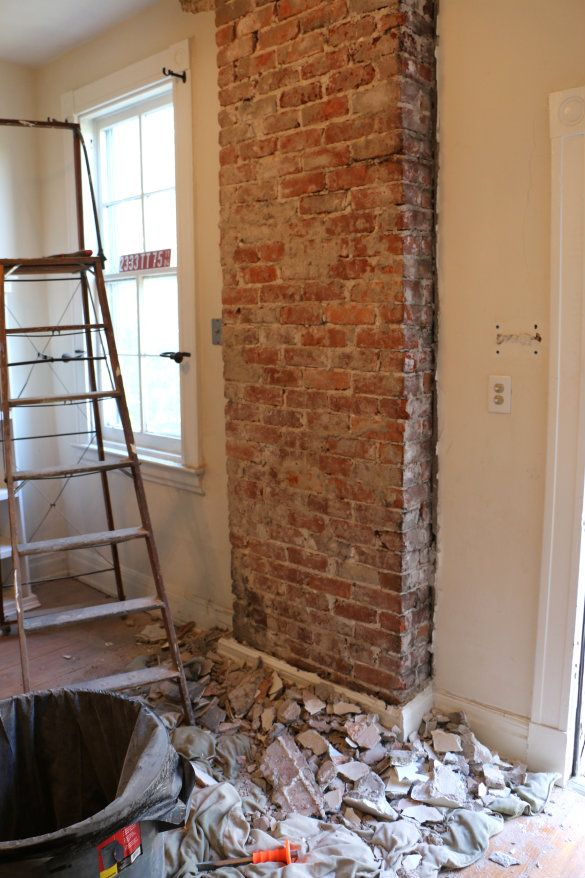 Before After Exposing A Brick Chimney Under Plaster Walls 17 Apart Before After Exposing A Brick Chimney U Brick Chimney Fake Brick Wall Exposed Brick