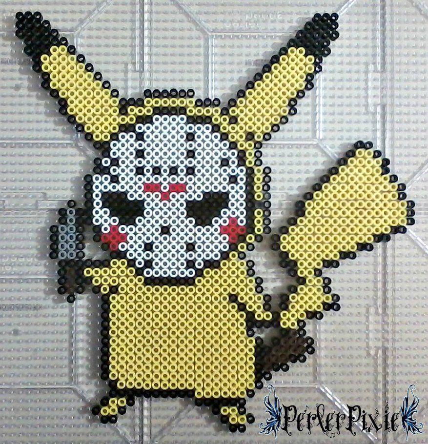 Pikachu Wearing A Jason Voorhees Mask By Perlerpixie