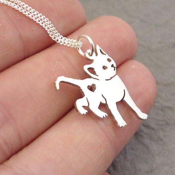 Kitty Cat Heart Sterling Silver Handmade Pendant By Starbrightgirl