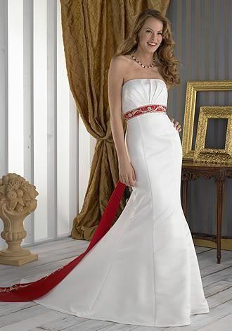 USD$198 Satin Mermaid Wedding Dress With Red Sash - www ...