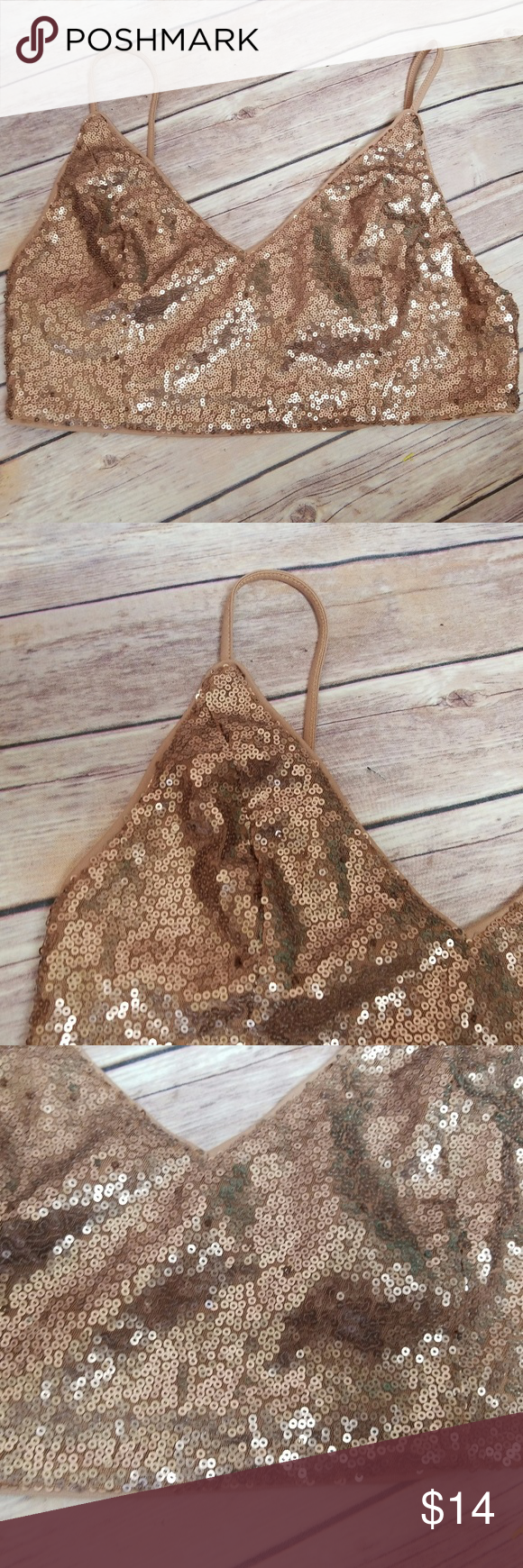 0f45324ad86a5b F21 Forever 21 Gold Sequin Glimmer Bra Bralette M F21 Forever 21 Gold Sequin  Glimmer Bra Bralette Crop Top Size Medium Excellent used condition- no  rips