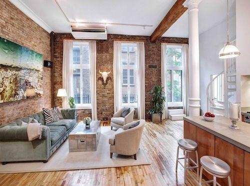 Two 2 Million Soho Co Ops With Exposed Brick Do Battle Brick Living Room Loft Living Living Room Decor Apartment