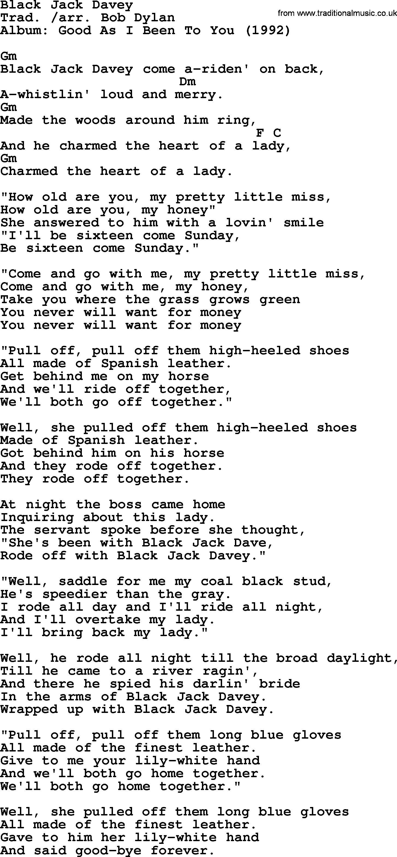 Bob Dylan Song Lyrics With Chords Black Jack Davey Bob Dylan