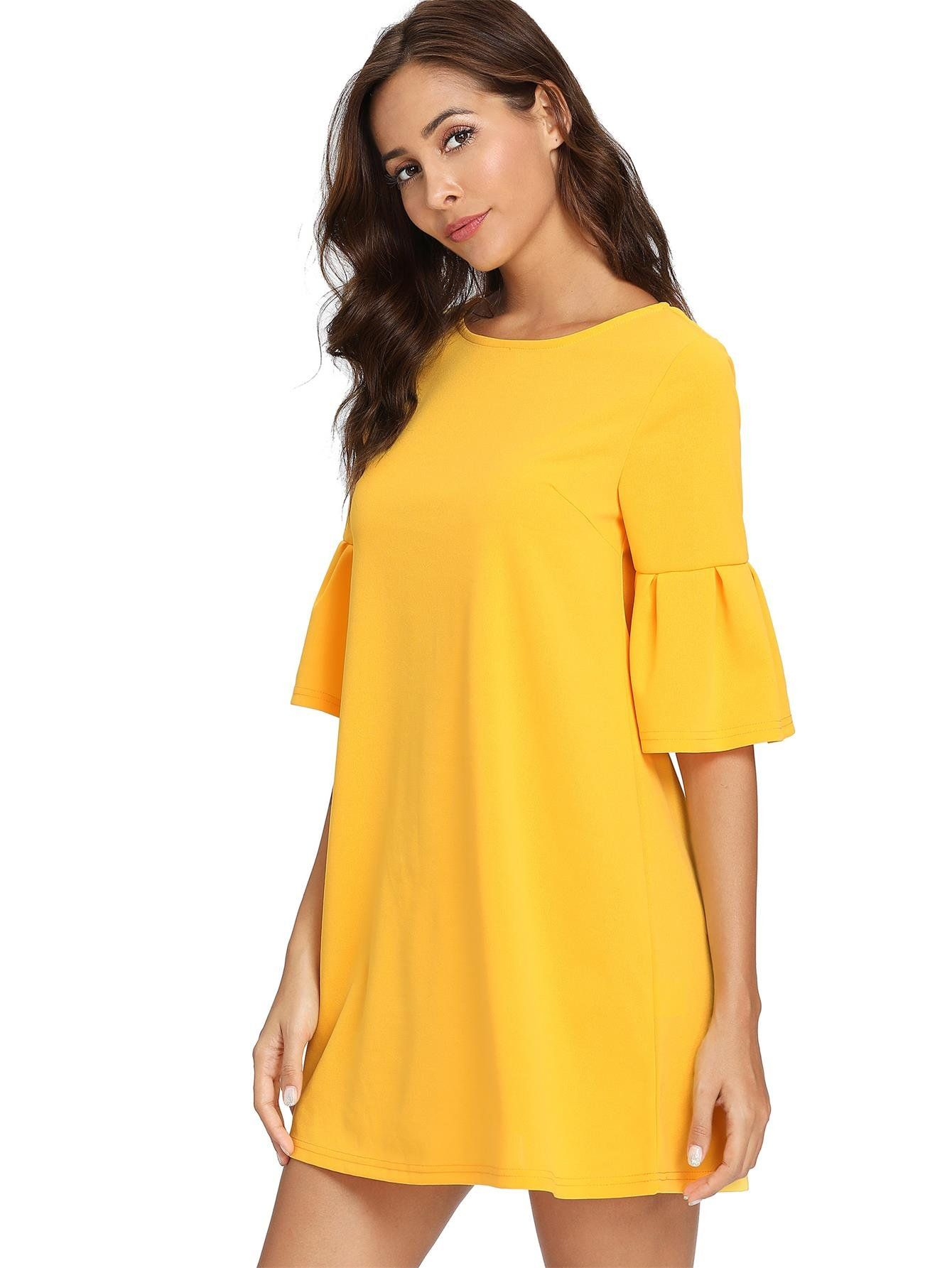 ae97bd546fbc92 Floerns Womens Bell Sleeve Embroidered Tunic Dress Yellow L * Check out the  image by visiting the link. (This is an affiliate link) #fashiondresses