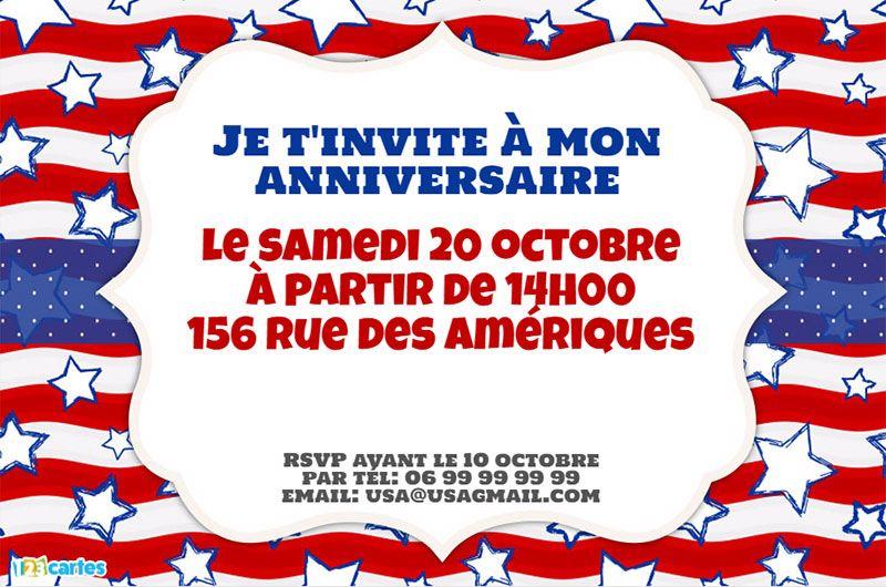 Invitation Anniversaire Usa Anniversaire Usa Invitation