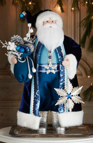 Blue Santa Decor Http Rstyle Me 3ccek Blue Christmas Decor Blue Christmas Christmas Decorations