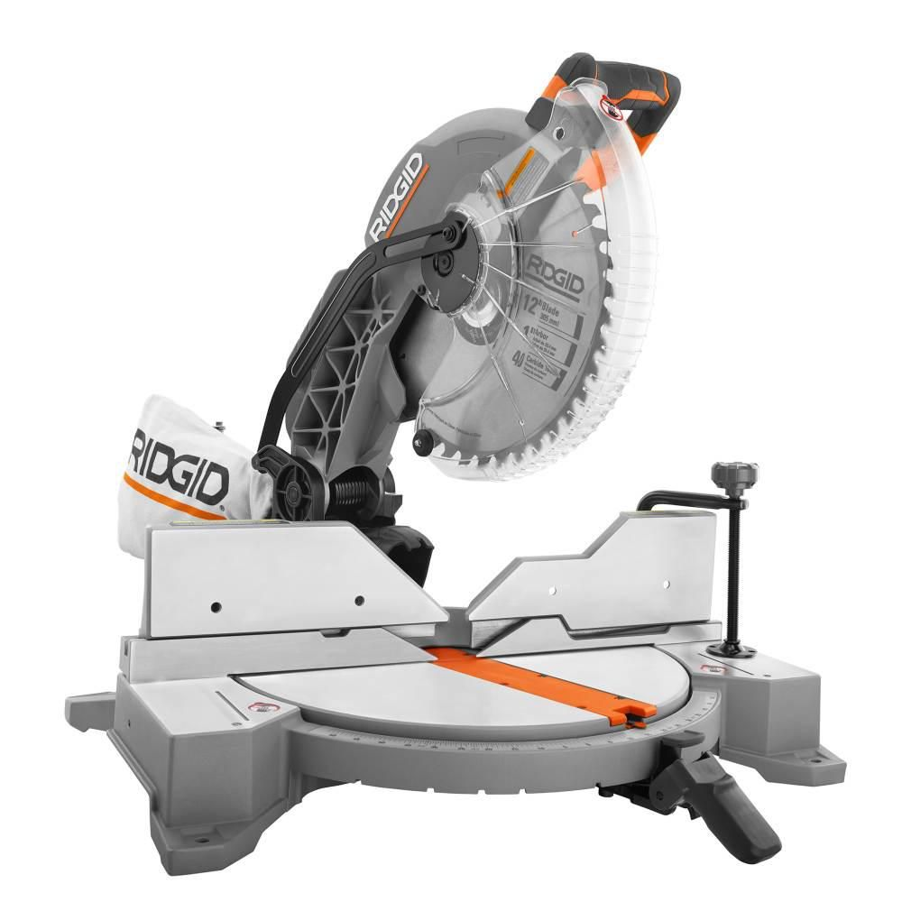 Ridgid 15 Amp Corded 12 In Dual Bevel Miter Saw With Led R4123 Sliding Compound Miter Saw Miter Saw Compound Mitre Saw