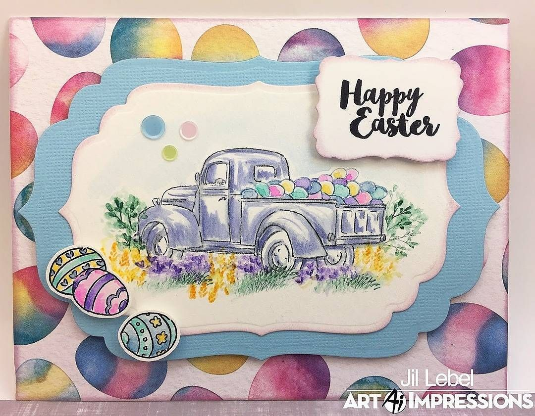 A delivery of colorful Easter eggs! Jil shares our WC Truck Mini Set from our #AiWatercolor line, all dressed up for this spring holiday! . #AiStamps #AiWatercolor #WatercolorCards #TruckCard #EasterCard #HandmadeCard