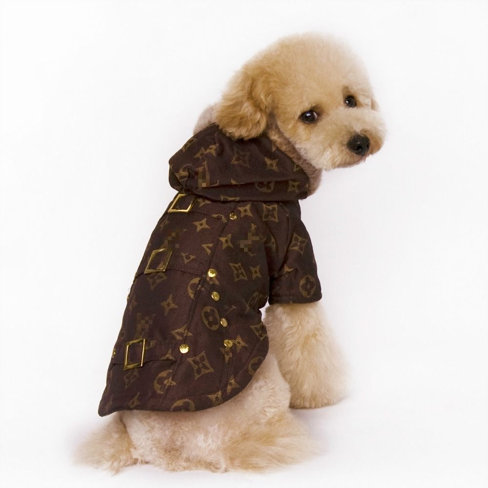 Designer Dog Clothes Luxury Brand Letter Print Pet Puppy Padded Coat Jacket With Fur Hood Xs Xxl In Dog Coats Jackets Dog Coats Dog Sweaters Cute Dog Clothes