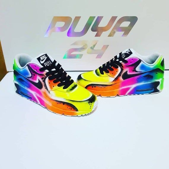 Max Shoes Shoes Air Shoe Custom 90 Rainbow Airbrush Nike 0PnwkO
