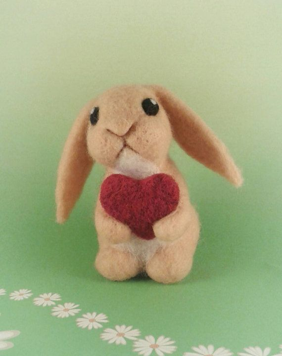 needle felted valentines day bunny, gift idea. | gifts | pinterest, Ideas