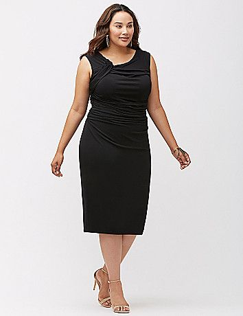 Elegant draping and a knot shoulder detail elevate this curve-hugging sheath dress to a can't-live-without kind of place. Sleek knit offers just the right amount of stretch to flatter, in a sophisticated silhouette that's perfect at the office or for that dressy evening occasion. Cap sleeves.  lanebryant.com