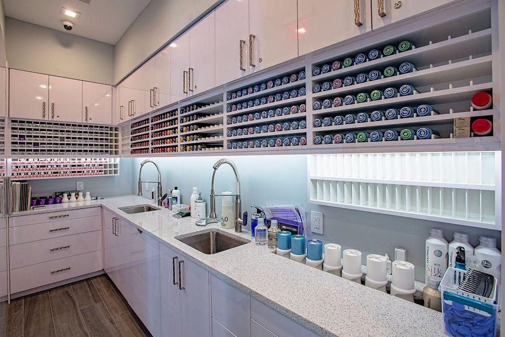 Glaze Salon Dispensary Cabinet With Built In Custom Hair Color Storage By Salon Interiors Inc Salon Interior Salon Interior Design Hair Salon Interior
