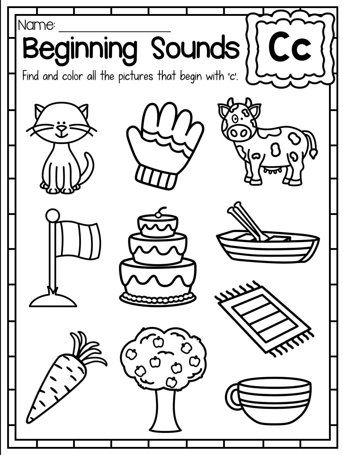 Printable Worksheets Beginning Letter Sounds 2 In