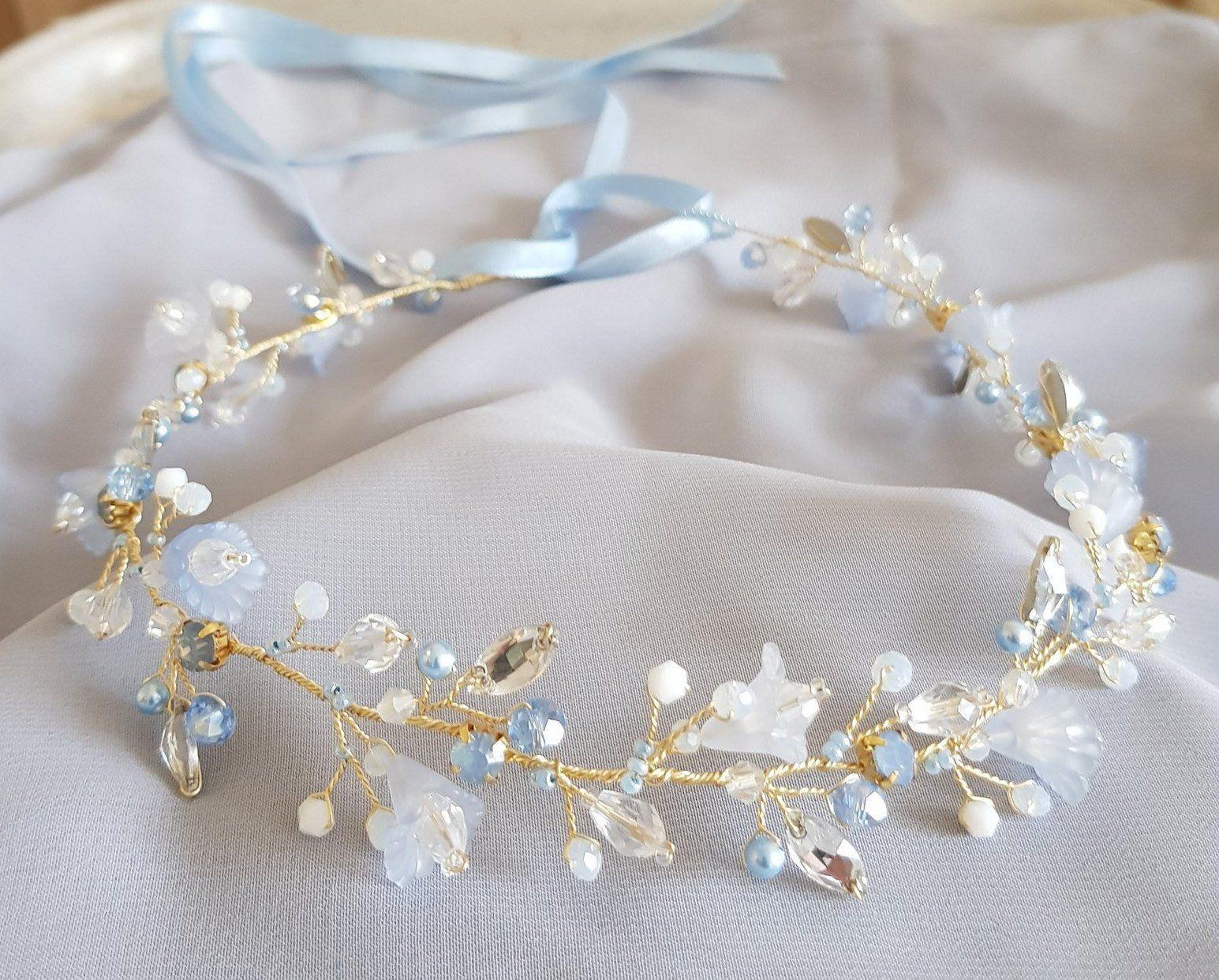 Delicate Floral Headband Gold Vine Wedding Hair Vine Ribbon Headband Halo Rhinestone Headband Floral Bridal Hair Vine