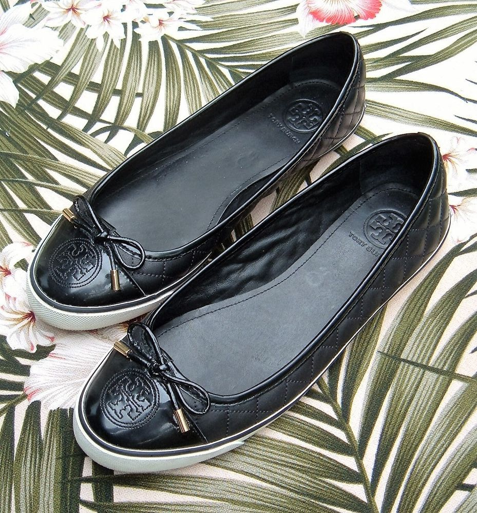 6ee9514e6ea5 TORY BURCH Black Leather SKYLER Quilted Ballet Sneakers Flats Shoes 10 M  T-Logo  ToryBurch  BalletFlats  Casual