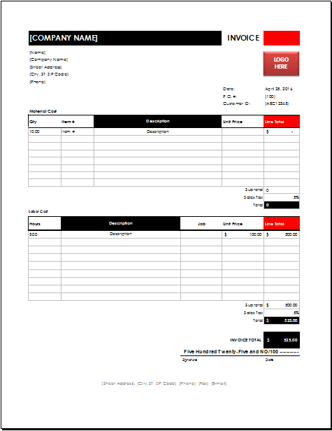 Electrician Invoice Download At HttpWwwExcelinvoicetemplates