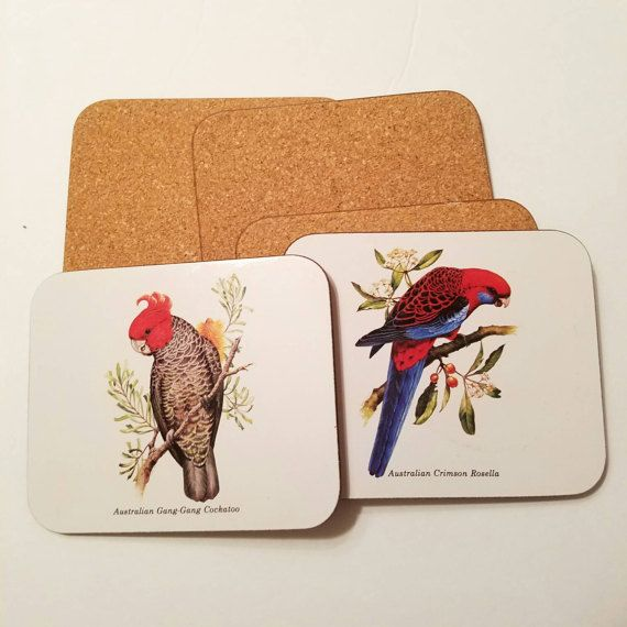 Vintage Australian Bird Coasters Jason Coasters Set Of 5 Bird Coasters Australian Birds Vintage