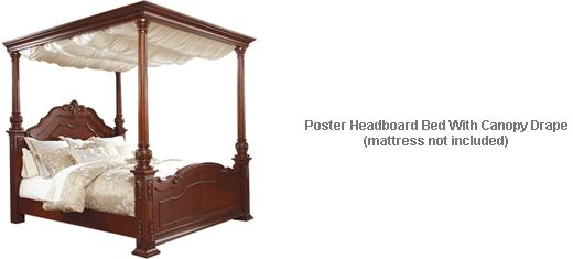 Ashley Martanny Queen Poster Headboard Bed With Canopy Drape