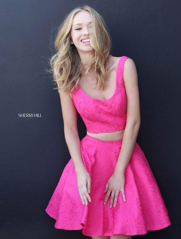 Fuchsia Brocade Fabric Pattern Two Piece S51072 Scoop Neck Short Dress For Homecoming by Sherri Hill