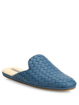 Buy and sell authentic Women's Blue Intrecciato Leather Loafer Slides womens blue Bottega Veneta Womens flats