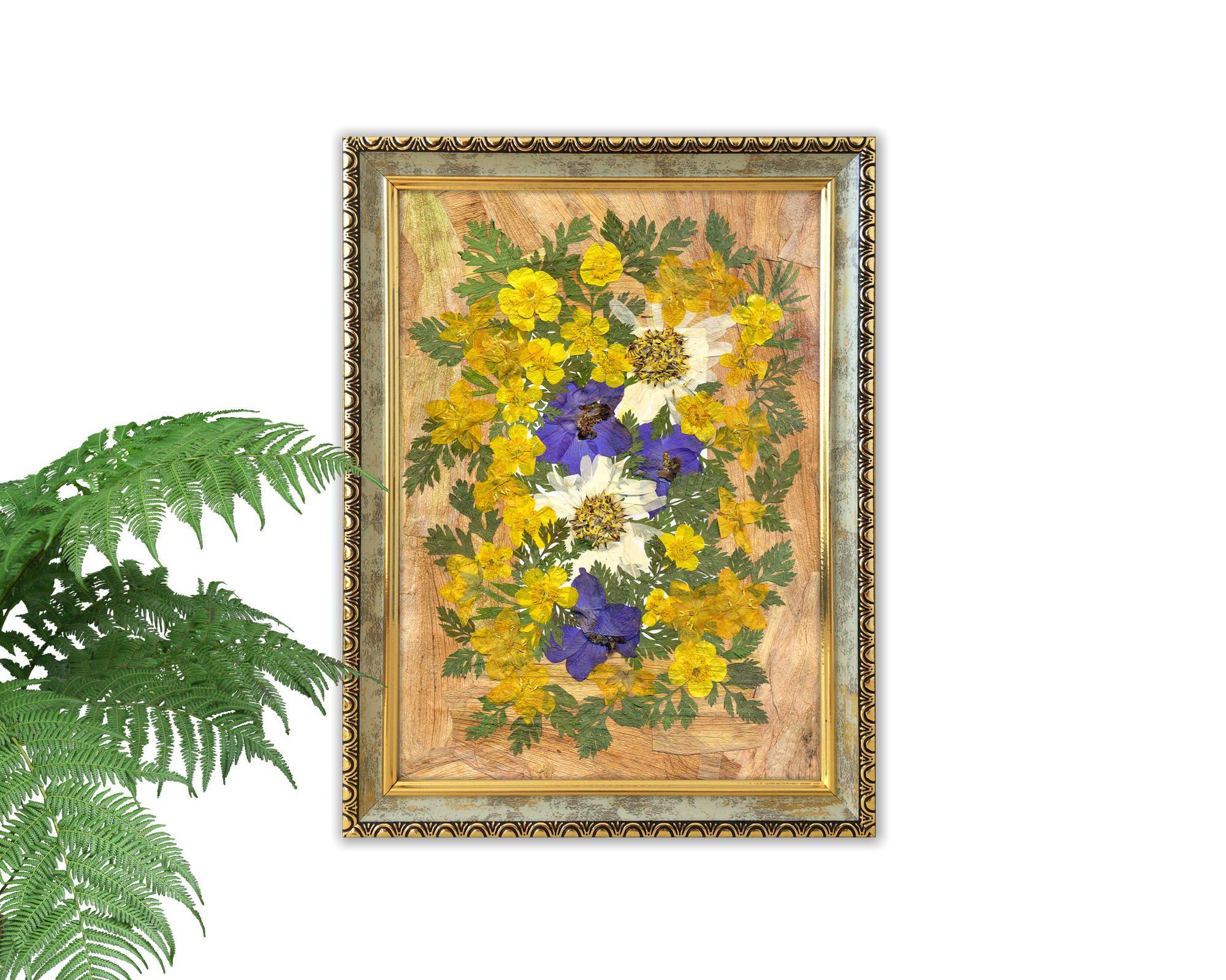 Dried flowers art, pressed flowers, kitchen decor, pressed flower ...