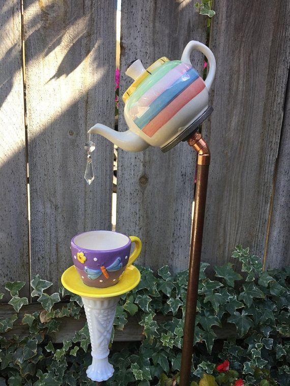Mini Tea Pot and Tea Cup, Garden Decor, Yard Art #gardeningdiy A