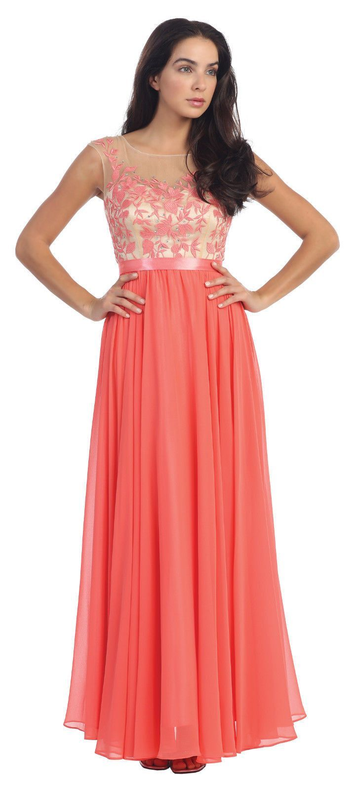 Long formal chiffon scoop neckline plus size prom dress products