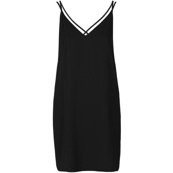 TopShop Petite Cross-Back Slip Dress ($42) ❤ liked on Polyvore featuring dresses, black, topshop, petite dresses, v neck cocktail dress, plunging v neck dress, plunge dress and strappy slip dress