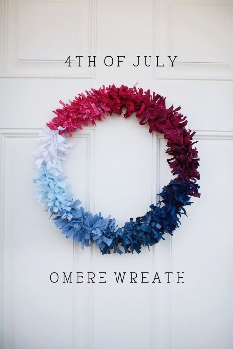 An assortment of fabric scraps come together to create this especially chic project. Click through to find out how to make this DIY Fourth of July wreath and other Fourth of July crafts.