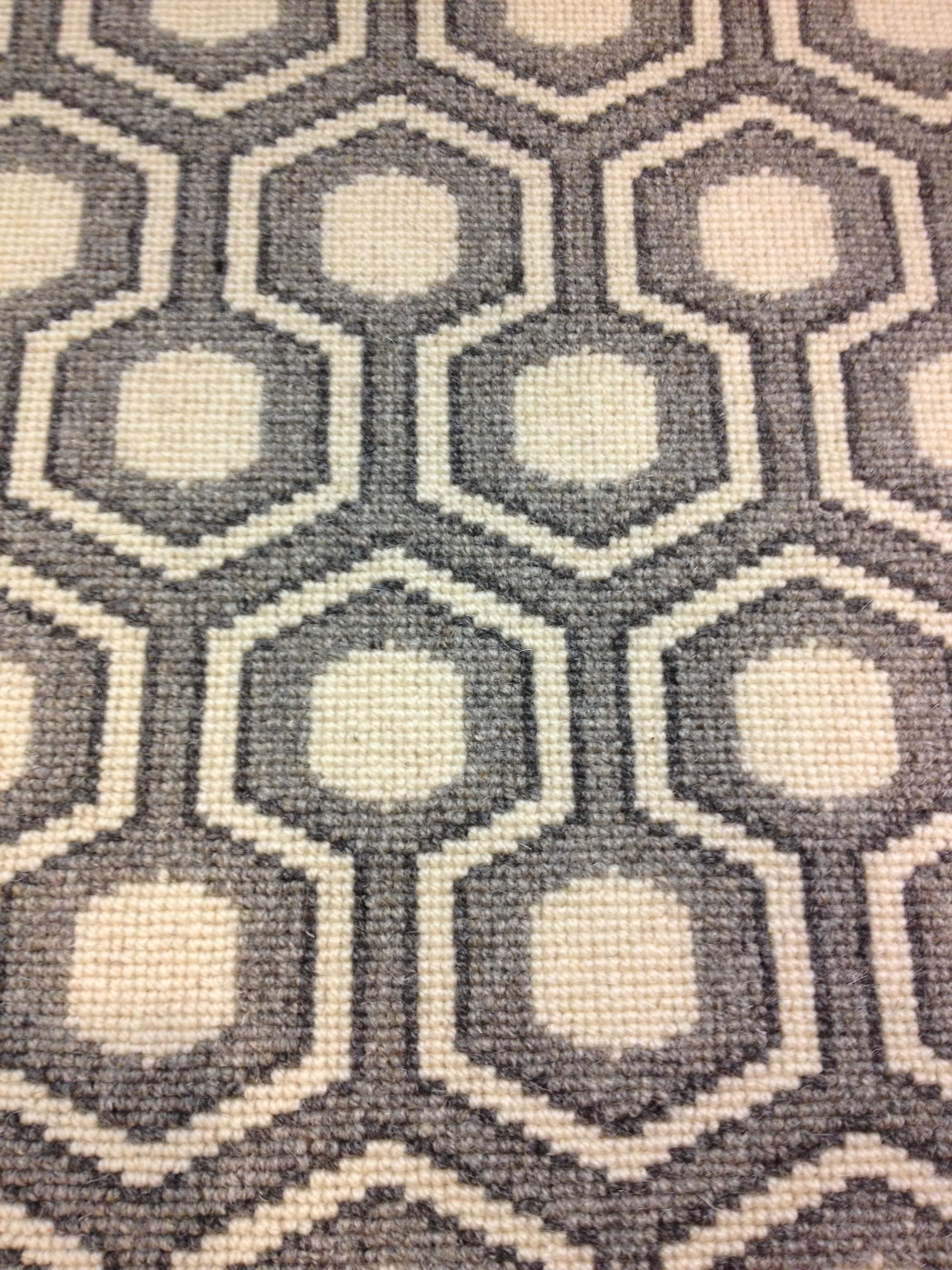 David Hicks Designed This Updated Geometric Patterned Wool Carpet Offered For Wall To Installation Or Fabricated Into An Area Rug Of Any Size