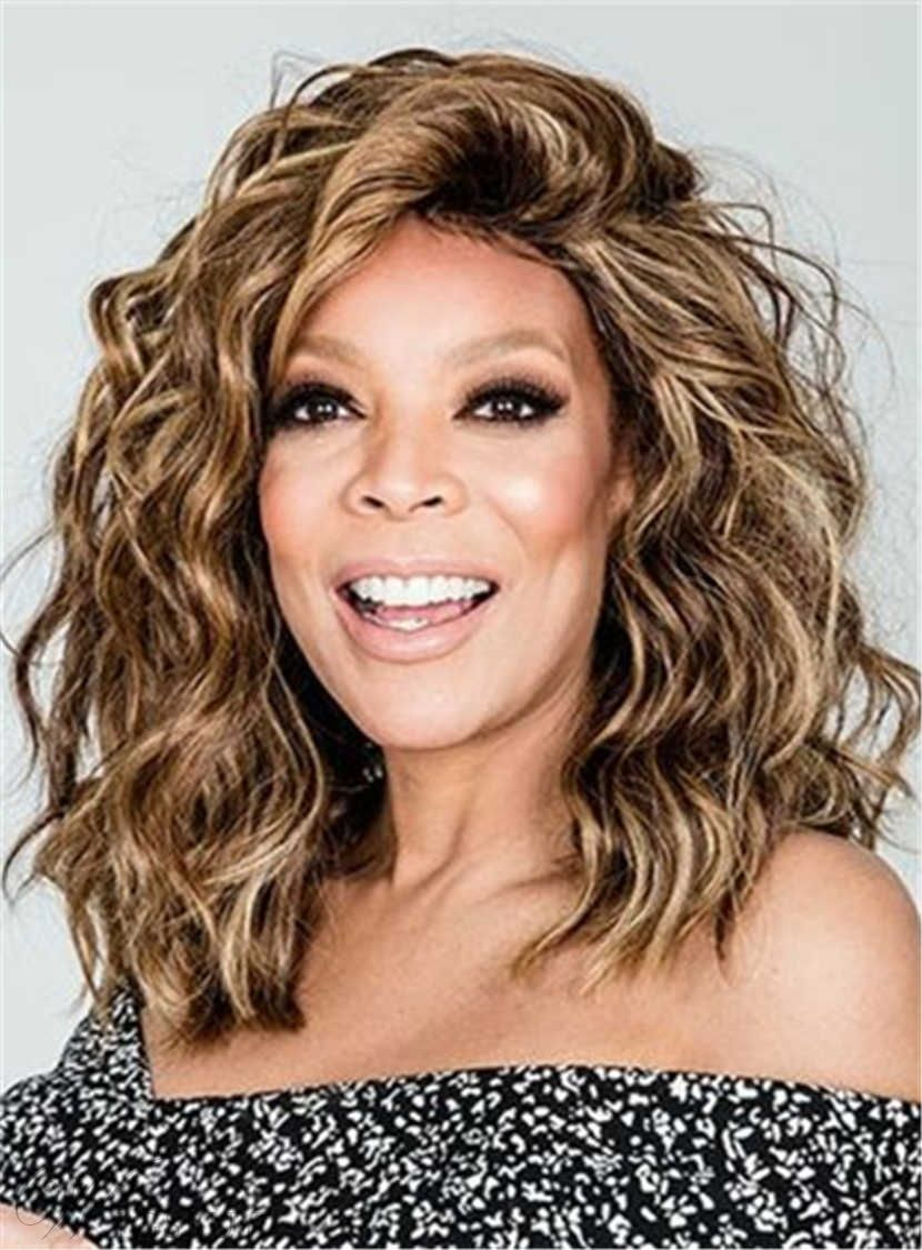 Wendy Williams Medium Messy Loose Curly Human Hair Lace Front Cap Wigs 14  Inches 813c9f6fd