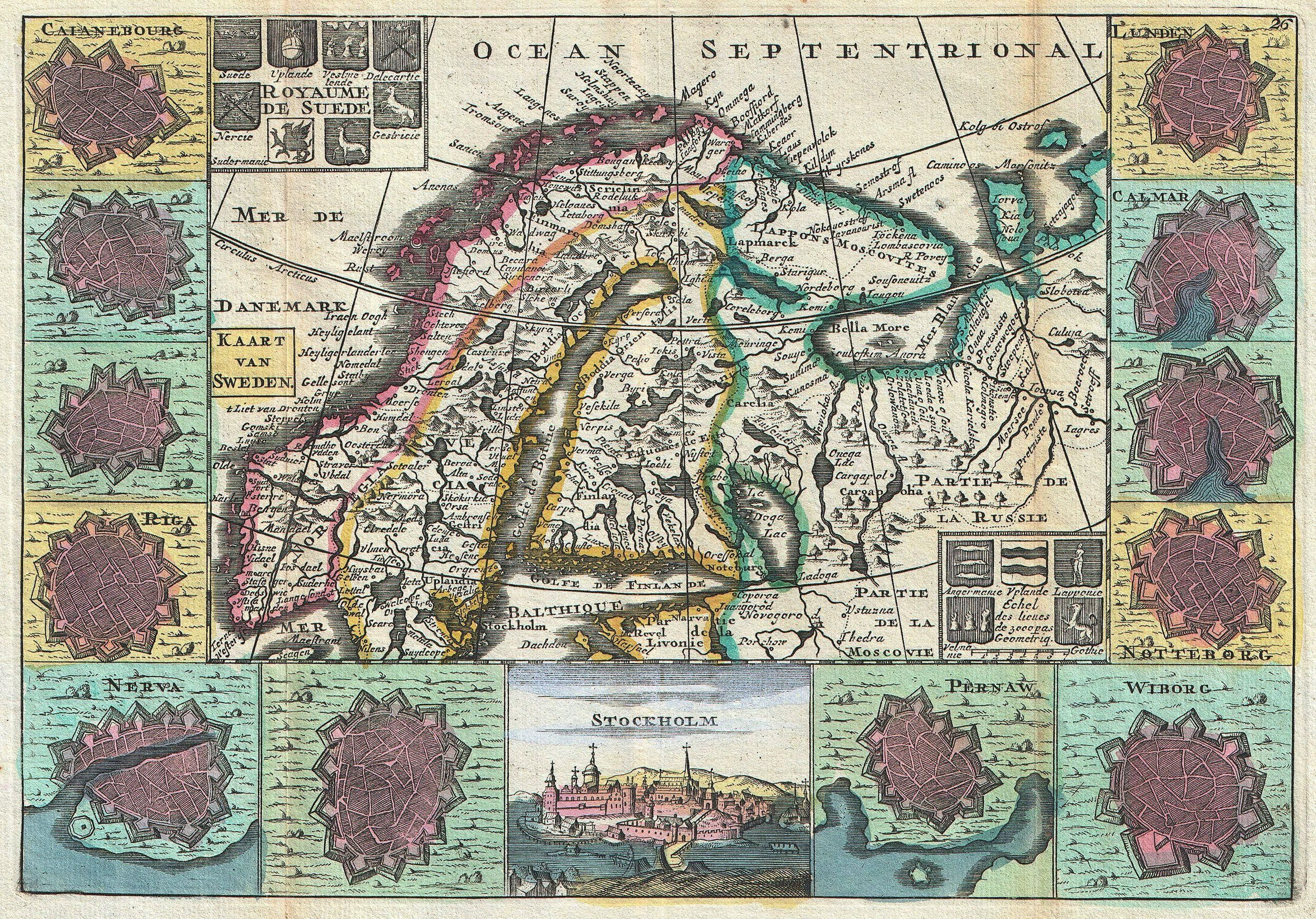 A stunning map of Scandinavia first drawn by Daniel de la Feuille in 1706. Covers all of Norway, Sweden and Finland along with parts of modern day Latvia, Estonia and Russia.
