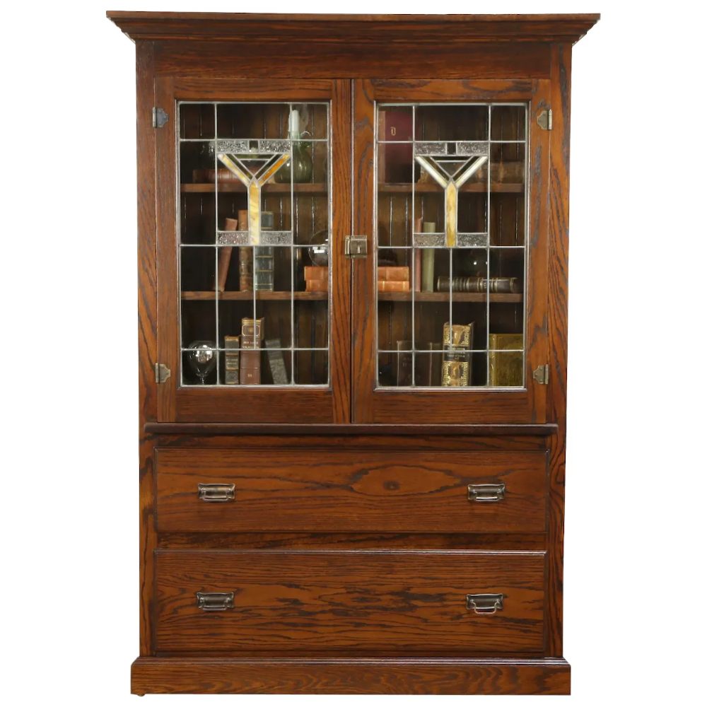 Arts Crafts Mission Oak Antique Bookcase China Cabinet Leaded Glass 32002 Antique Bookcase Antique Kitchen Cabinets Mission Oak