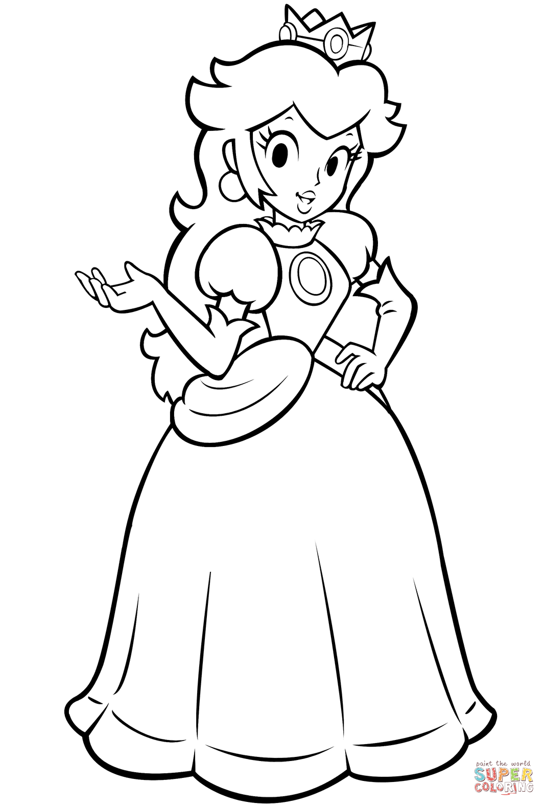 Paper Princess Daisy Coloring Pages Super Mario Coloring Pages Mario Coloring Pages Princess Coloring Pages
