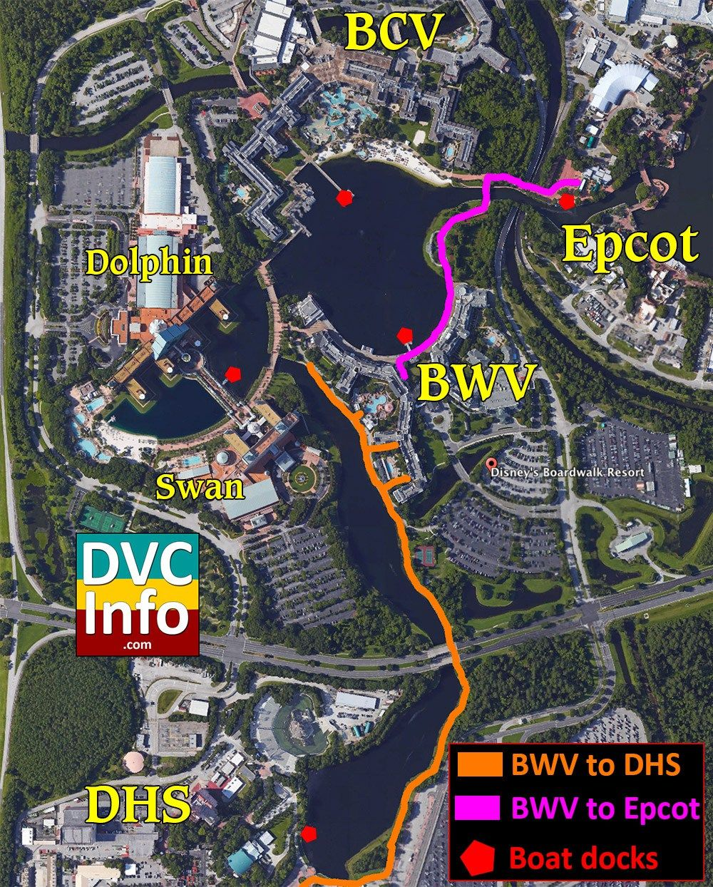 Disney\'s BoardWalk Villas Walking Map | Disney | Disney vacation ...