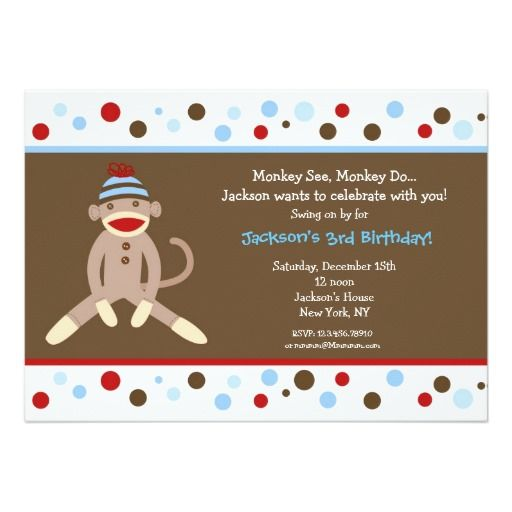 Sock Monkey Birthday Party Invitations Boy Kids