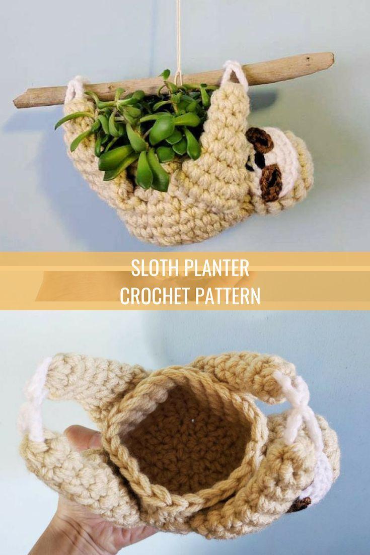 Photo of sloth planter crochet pattern, mini succulent planter, hanging crochet planter, animal planter, sloth crochet