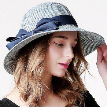 Bowknot Cloth Strap Straw Fedora Hats For Women Beach Hat For Women Straw Sun Hat