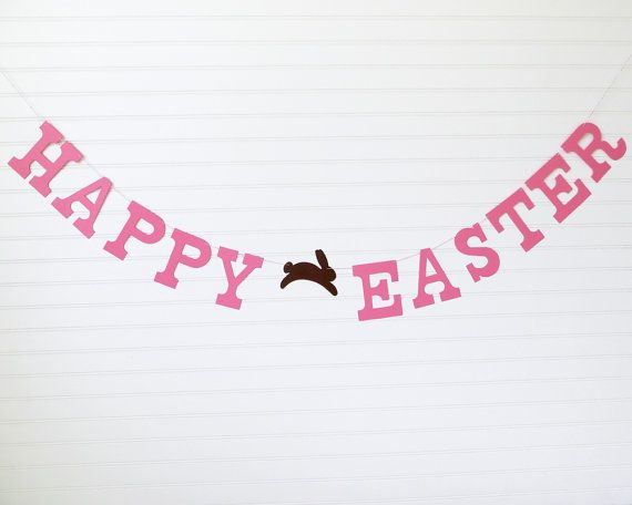 Happy Easter Banner 5 inch Letters with by FreshLemonBlossoms  Easter Decoration Bunny Banner