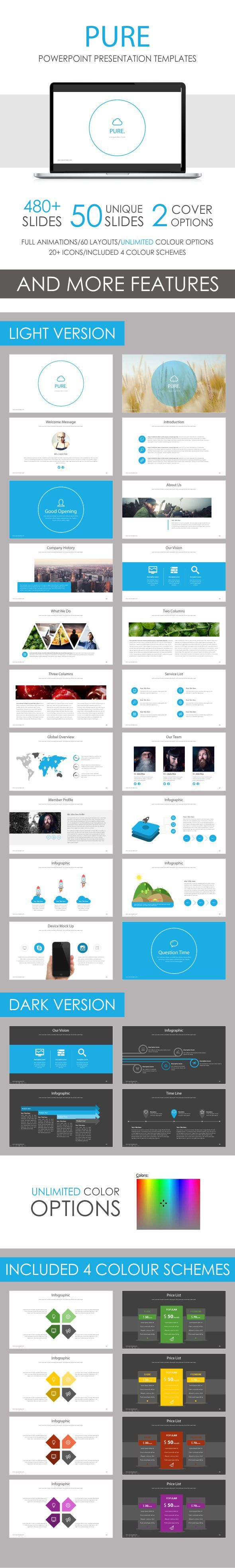 pure powerpoint template template ppt design and presentation