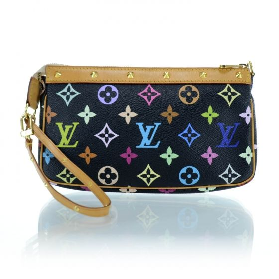 b5e78fccc718 This is an authentic LOUIS VUITTON Multicolor Pochette Accessories in Black.  This stylish accessories bag comes from a creative collaboration between  Louis ...