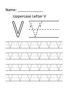 uppercase letter v worksheets free printable preschool and kindergarten uppercase letter v. Black Bedroom Furniture Sets. Home Design Ideas