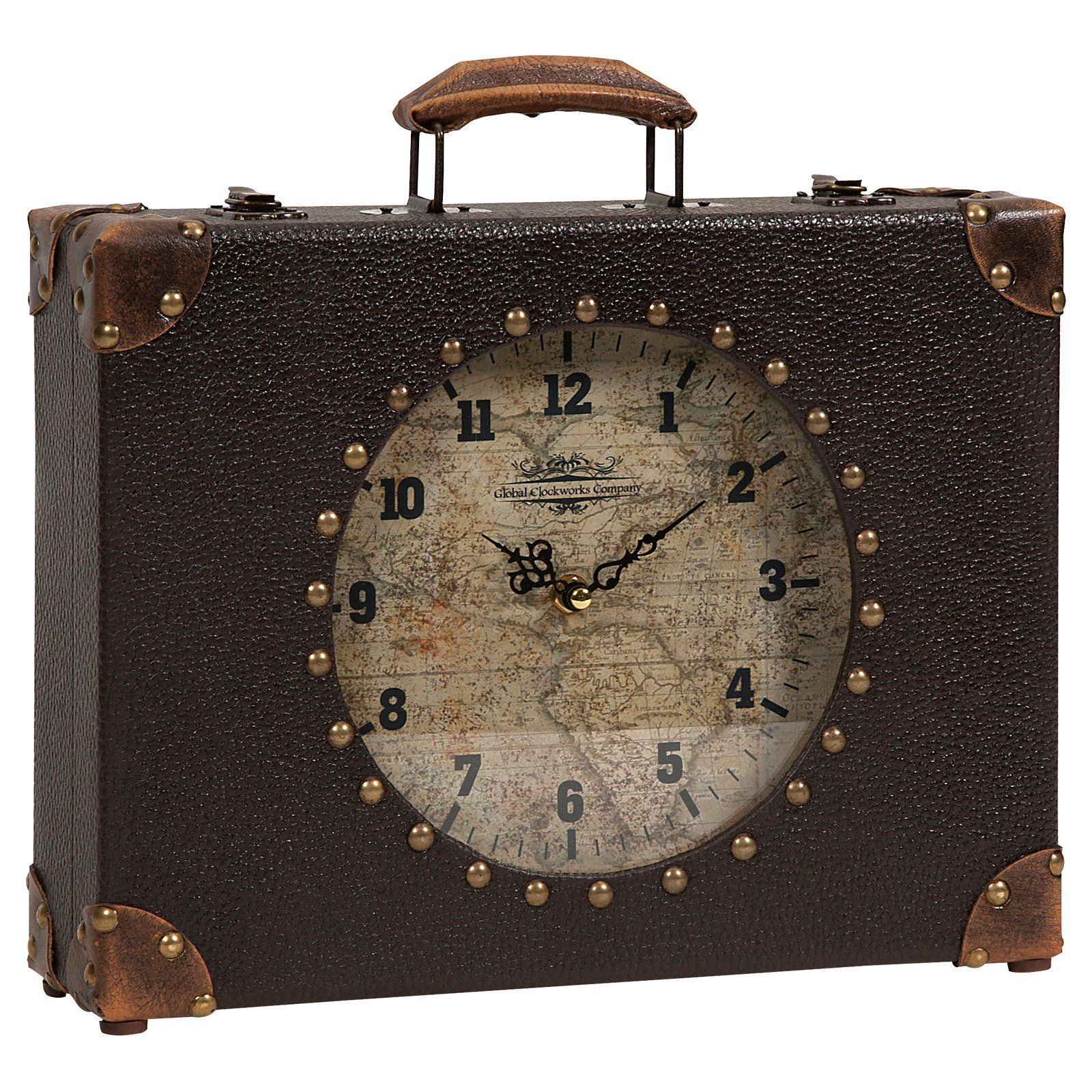 World map suitcase clock pinterest suitcase and clocks world map suitcase clock the perfect size for a desktop mantel or shelf the world map suitcase clock brings old world charm and a travelers m gumiabroncs Image collections