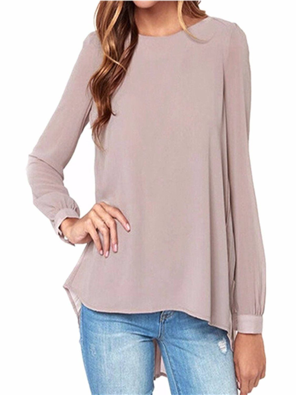 2f406761514253 ZANZEA Women's Boho Chiffon Long Sleeve Baggy Pleated Casual T Shirt Tops  Blouse Khaki UK 14: Amazon.co.uk: Clothing