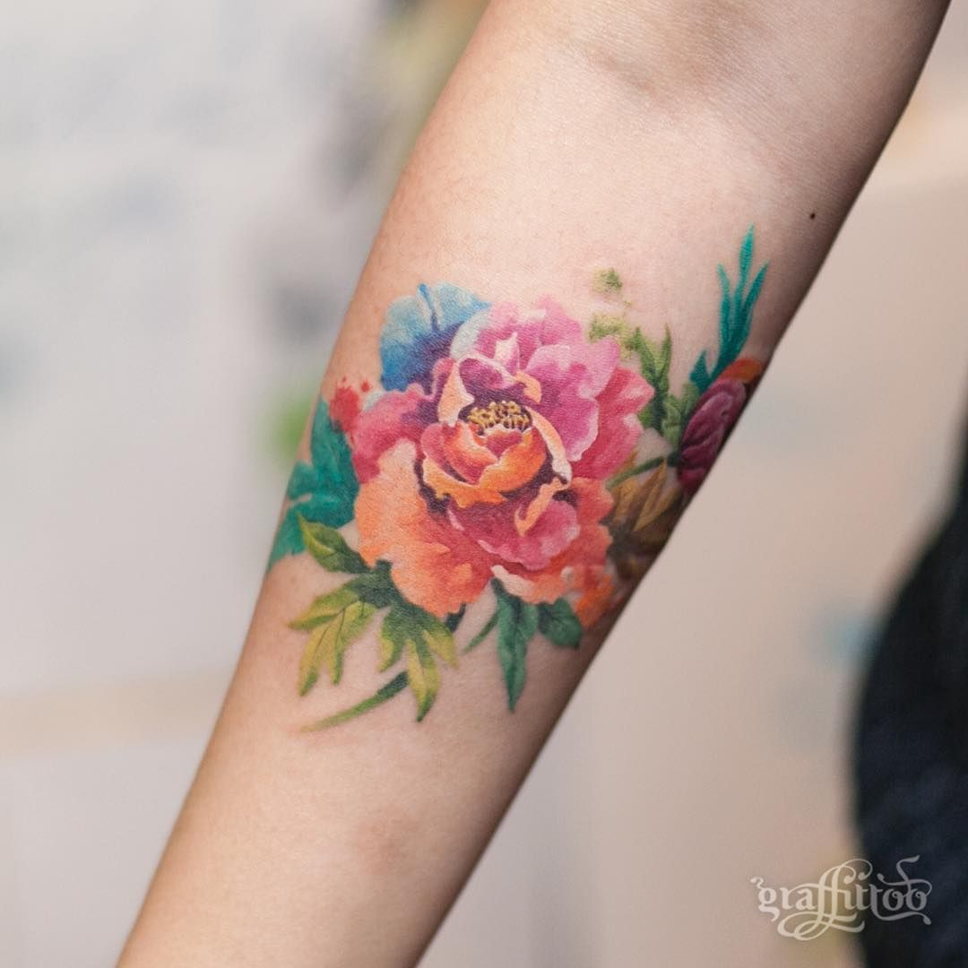 Such Gorgeous Colors And Softness Flower Tattoos Pinterest
